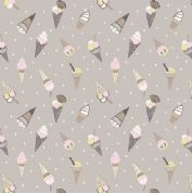 Lewis & Irene Picnic In The Park - 4697 - Ice Cream Cones on Taupe - A154.3 - Cotton Fabric
